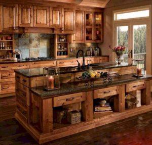 Кухня из дерева стиль рустик