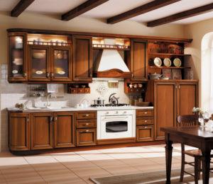 Кухня из дерева в русском стиле