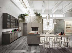 Кухня в из дерева в стиле лофт