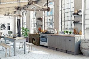 Кухня из дерева в стиле шебби-шик