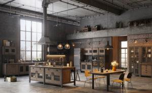 Кухня в стиле лофт с элементами индустрии
