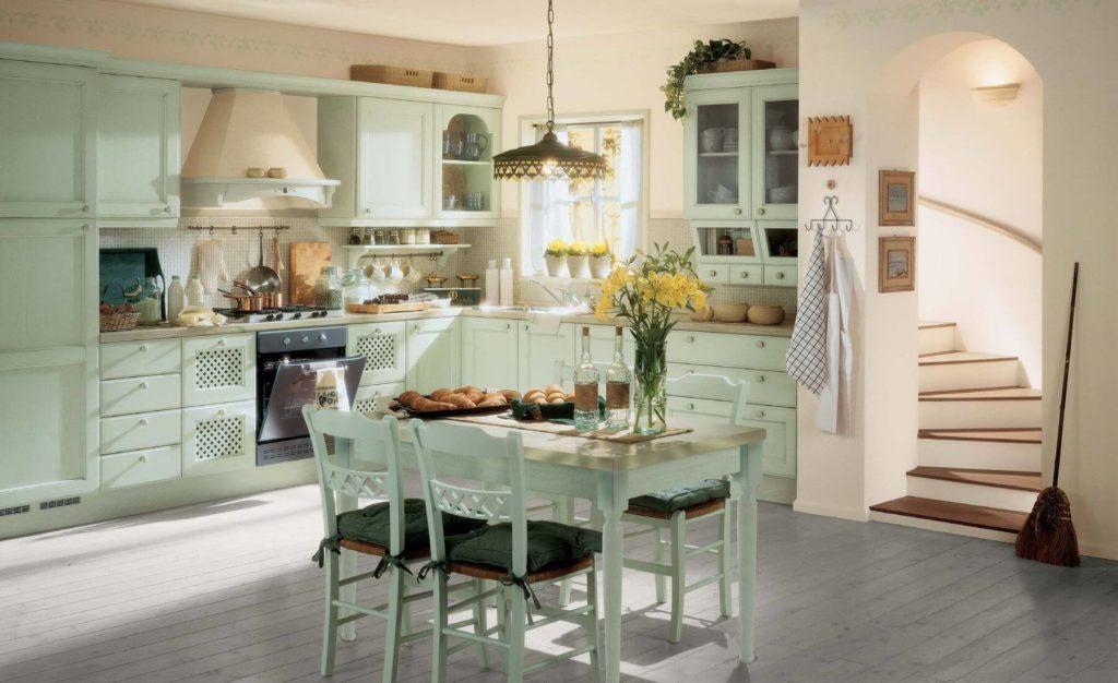 Кухня в стиле прованс мятный цвет