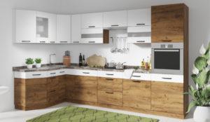 Современная кухня с деревянными фасами