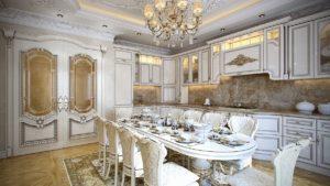 Светлая кухня барокко