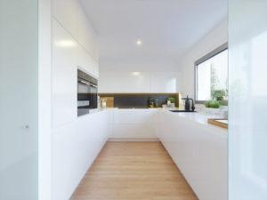 Белая кухня лофт на балконе