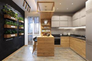 Деревянная кухня в лофт-стиле