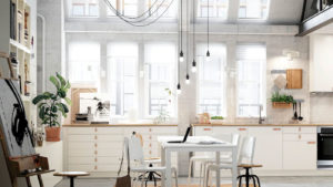 Дизайн белой кухни в стиле лофт