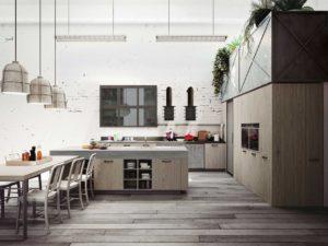 Дизайн большой кухни из дерева в стиле лофт