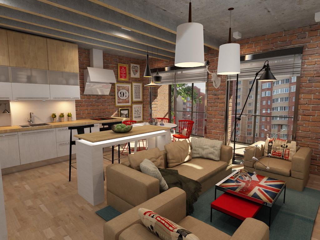 Дизайн кухни гостиной лофт