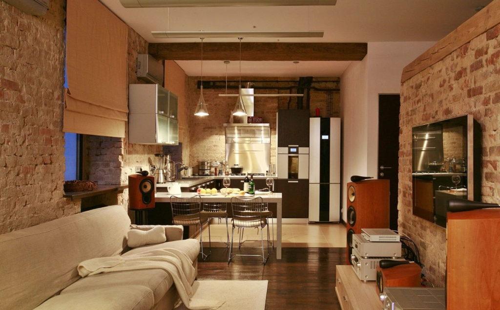 Дизайн кухни гостиной в стиле лофт модульная мебель