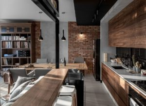 Дизайн кухни лофт из массива дерева