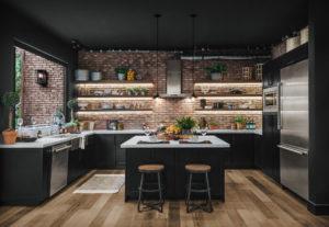 Дизайн кухни в черном цвете стиль лофт
