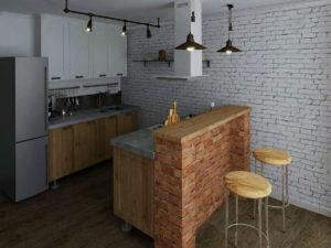 Дизайн кухни в стиле Эко-Лофт минимализм