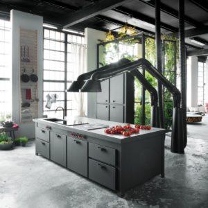 Дизайнерская кухня в стиле лофт с островом