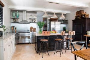 Кухня лофт с барной стройкой островом