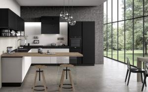 Кухня в стиле лофт черного цвета