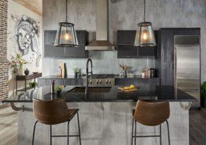 Кухня в стиле лофт серая