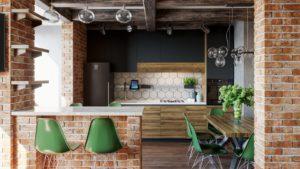 Маленькая кухня в стиле лофт в квартиру