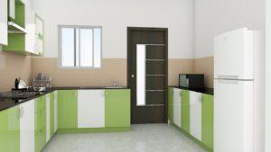 Модульная кухня в стиле лофт зеленого цвета