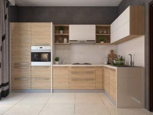Модульная кухня в стиле лофт под дерево