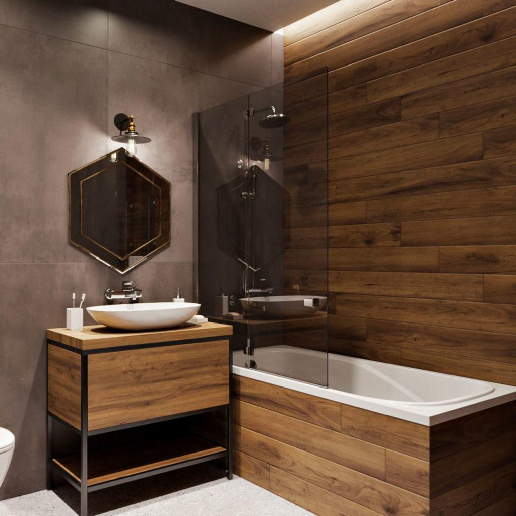 Напольная туба из дерева в ванной