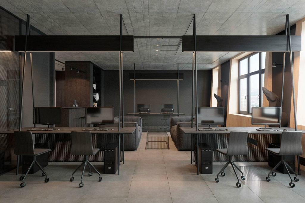 Офис в стиле лофт минимализм