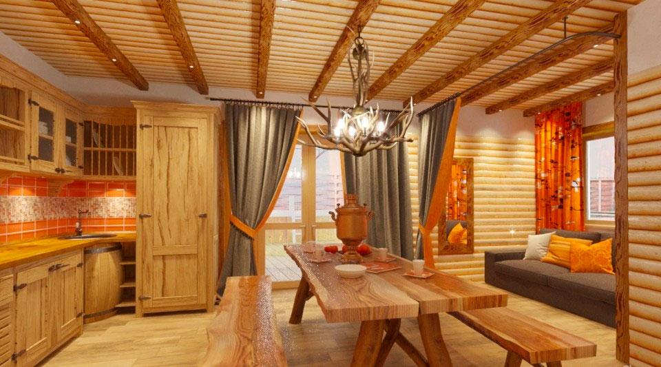 Предбанник с мебелью из дерева