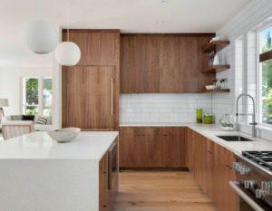 Современная угловая кухня в стиле лофт
