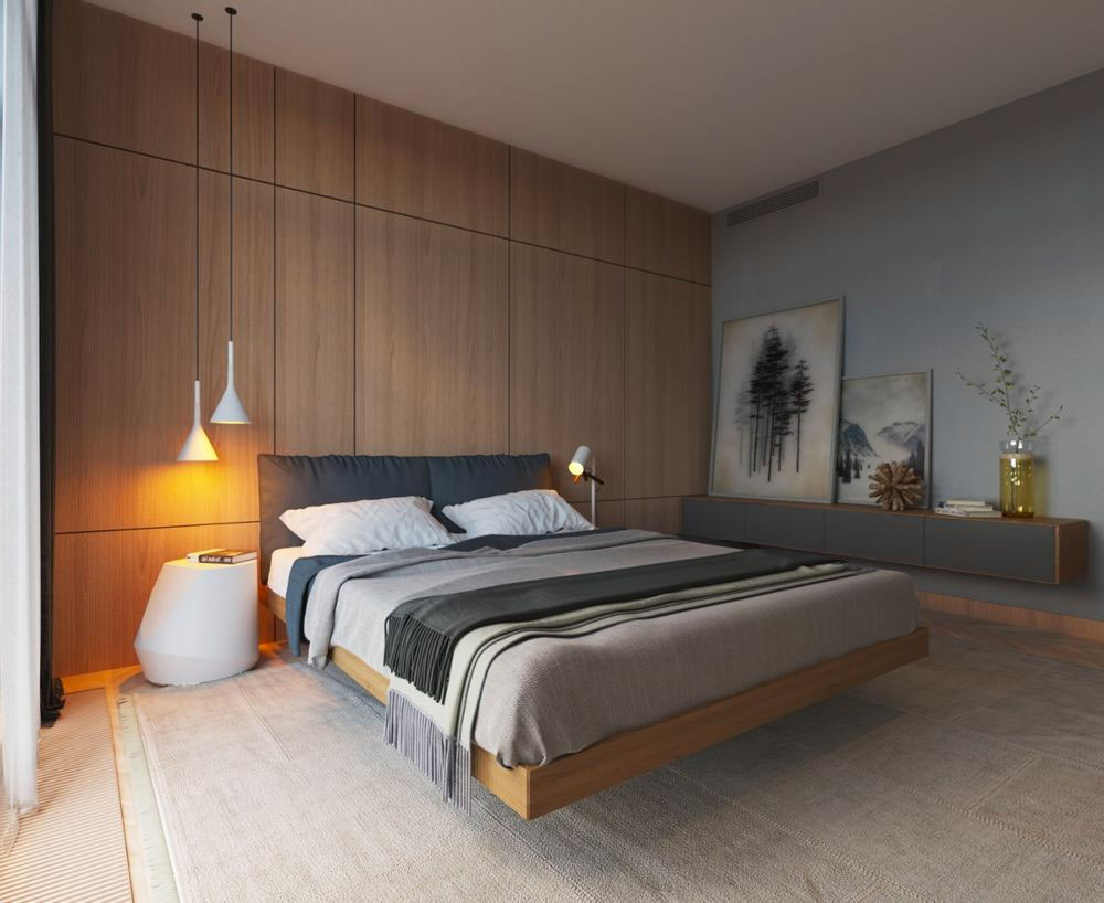Спальня из дерева в стиле минимализм