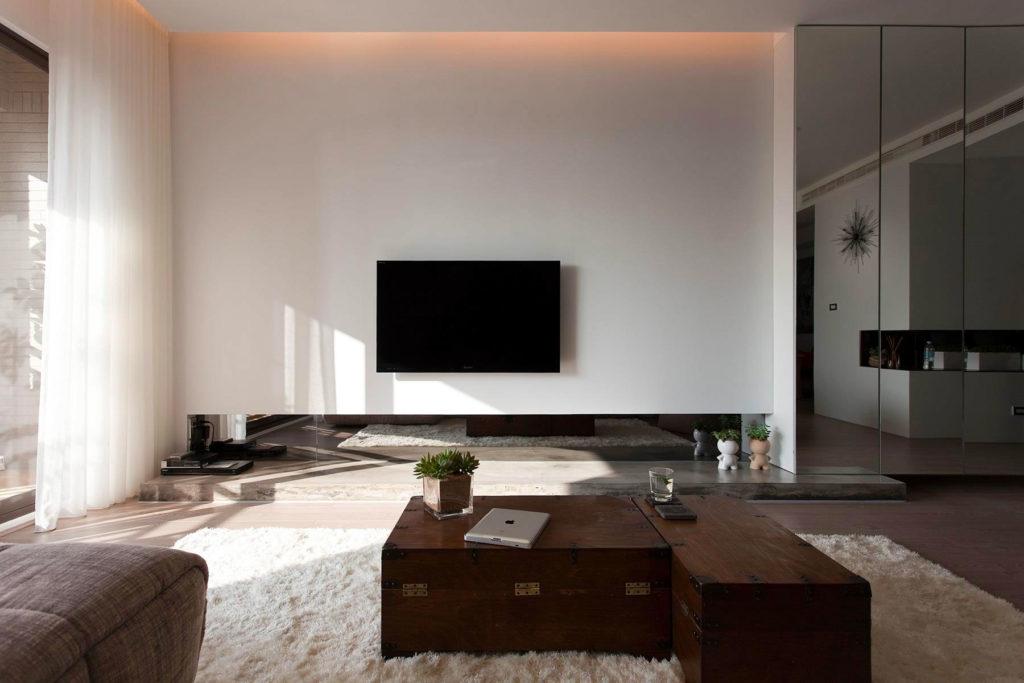 Спальня в стиле минимализм с мебелью рустик
