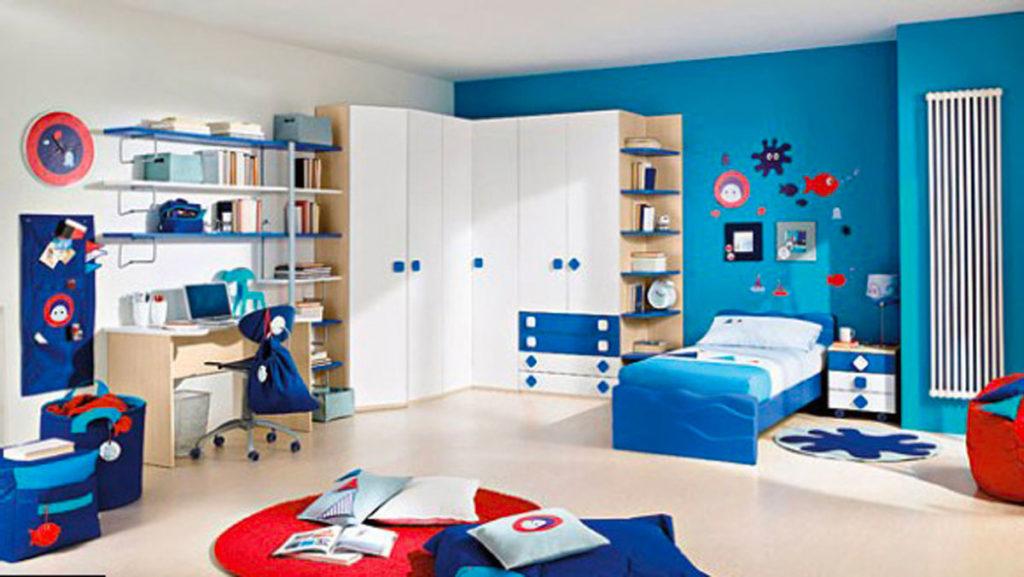 Детская комната синие стены
