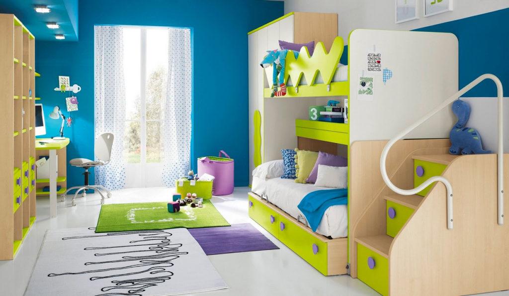 Детская комната в синем и лимонном тоне