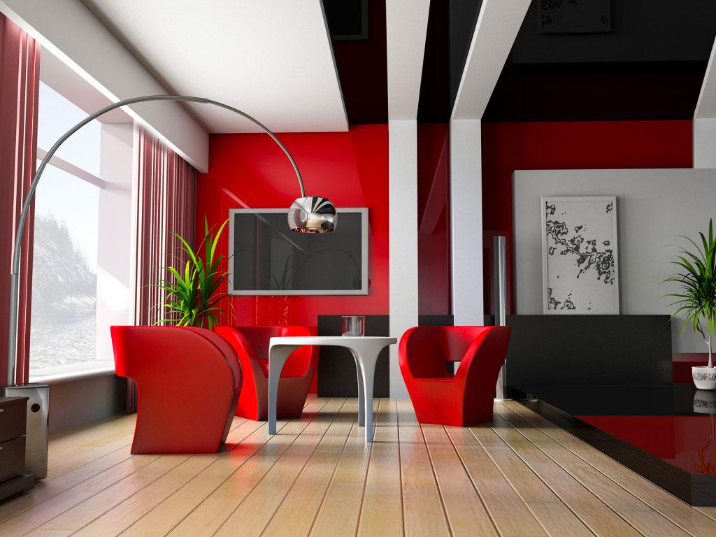 Гостиная с мебелью в красном цвете