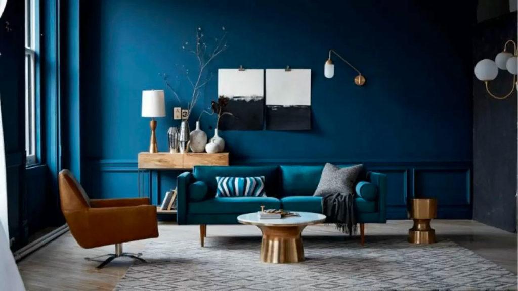 Гостиная в синем цвете