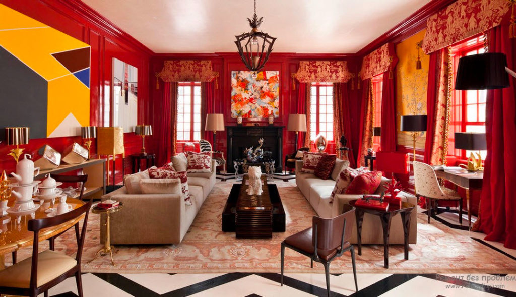 Интерьер гостиной в красном свете
