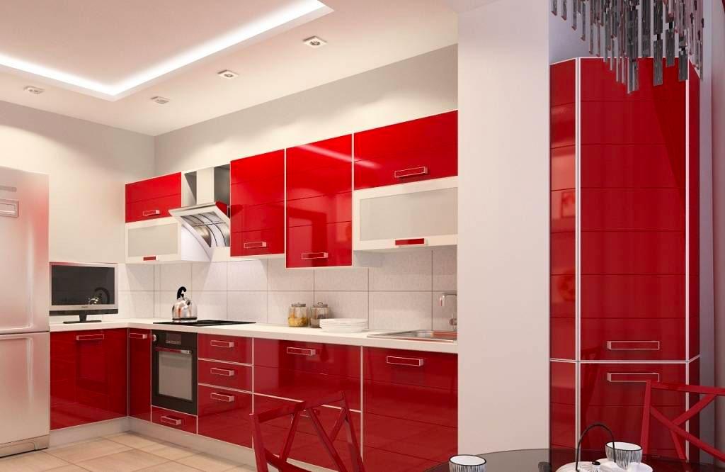 Интерьер красно-белой кухни