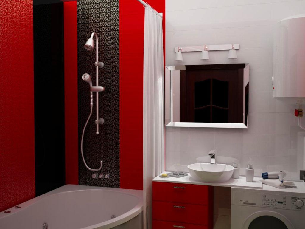 Интерьер красно белой ванной комнаты