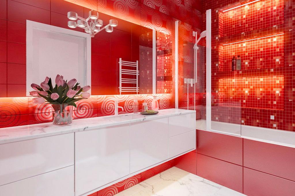 Интерьер ванной в красно белом стиле