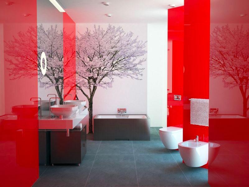 Интерьер ванной комнаты в красном и белом цвете