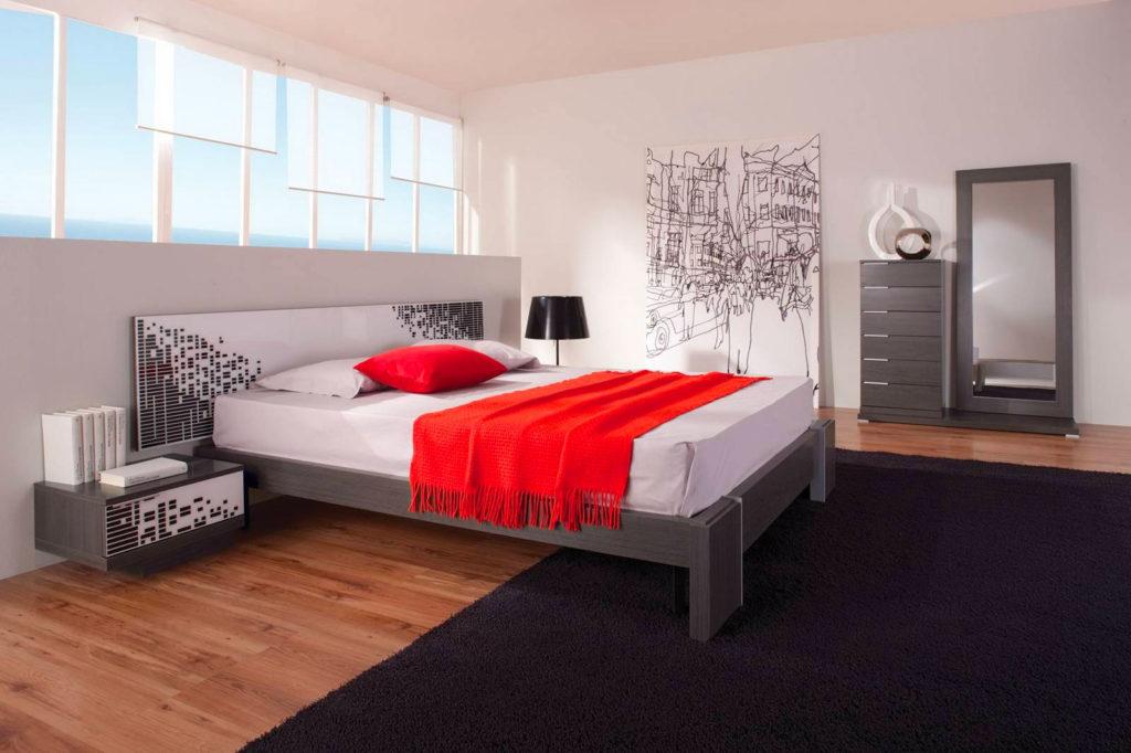 Красно белый цвет в интерьере спальни