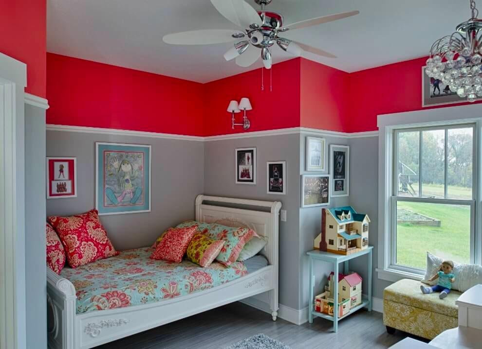 Красно-серые цвета в интерьере детской комнаты