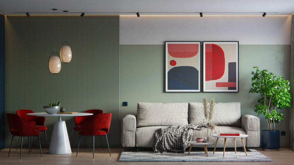 Красно-зеленый интерьер гостиной