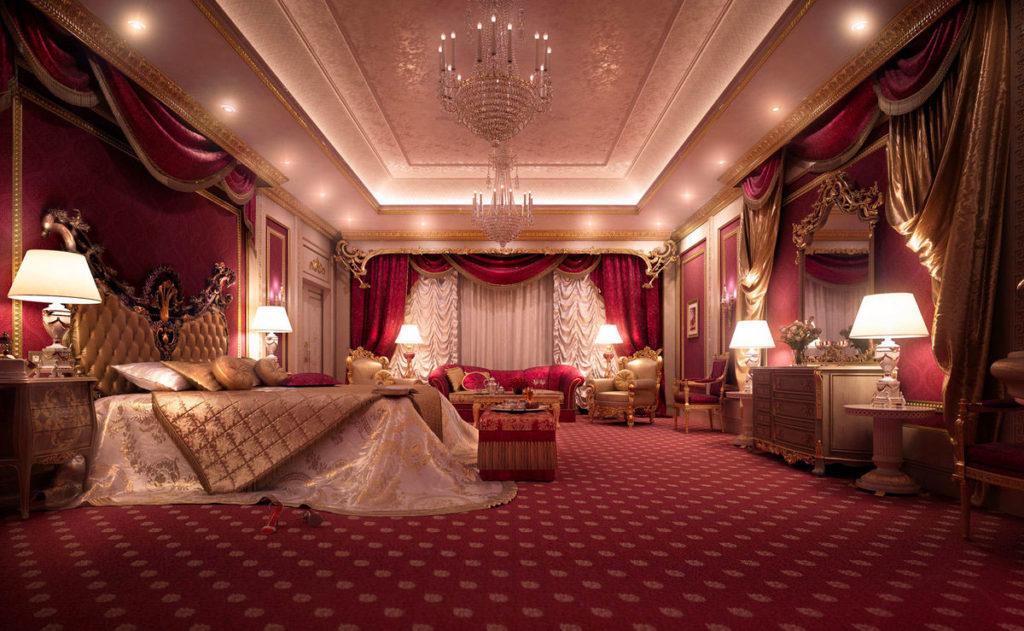 Красный и золотой цвет в интерьере спальни