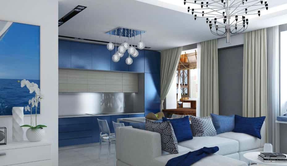 Кухня-гостиная мебель синего цвета