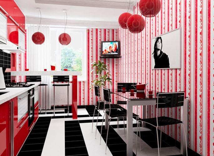Кухня в красно-черном цвете