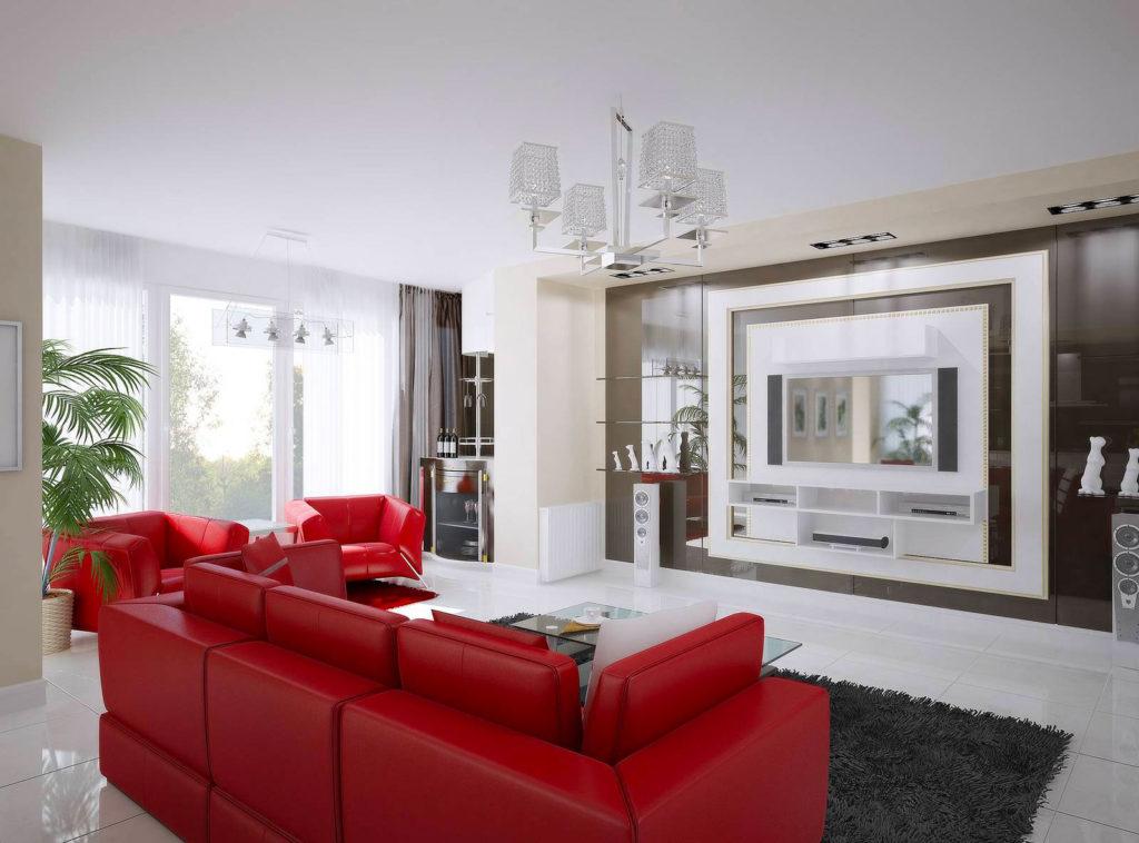 Сочетание красного и белого цвета в гостиной