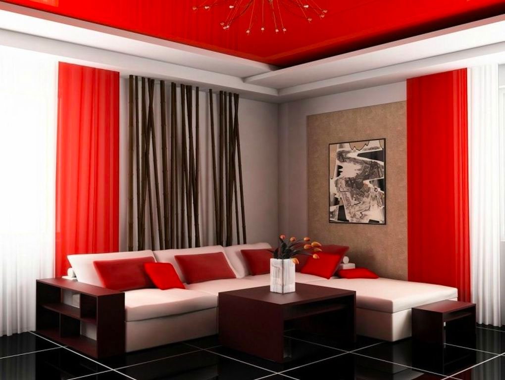 Сочетание красного и черного светов в гостиной