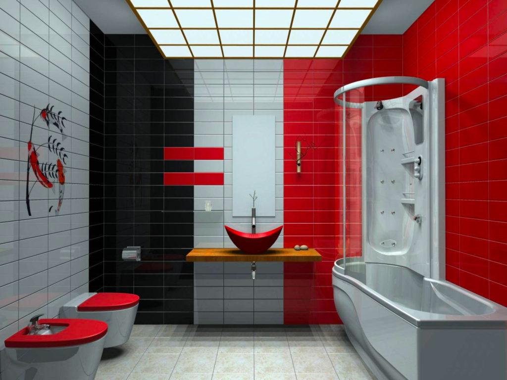 Сочетание красного и серого цвета в ванной