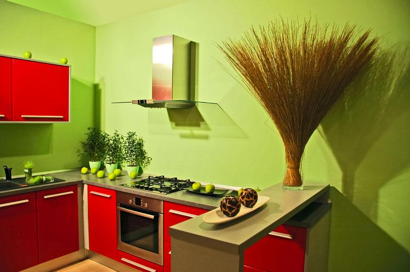 Сочетание красного и зеленого цвета в интерьере кухни