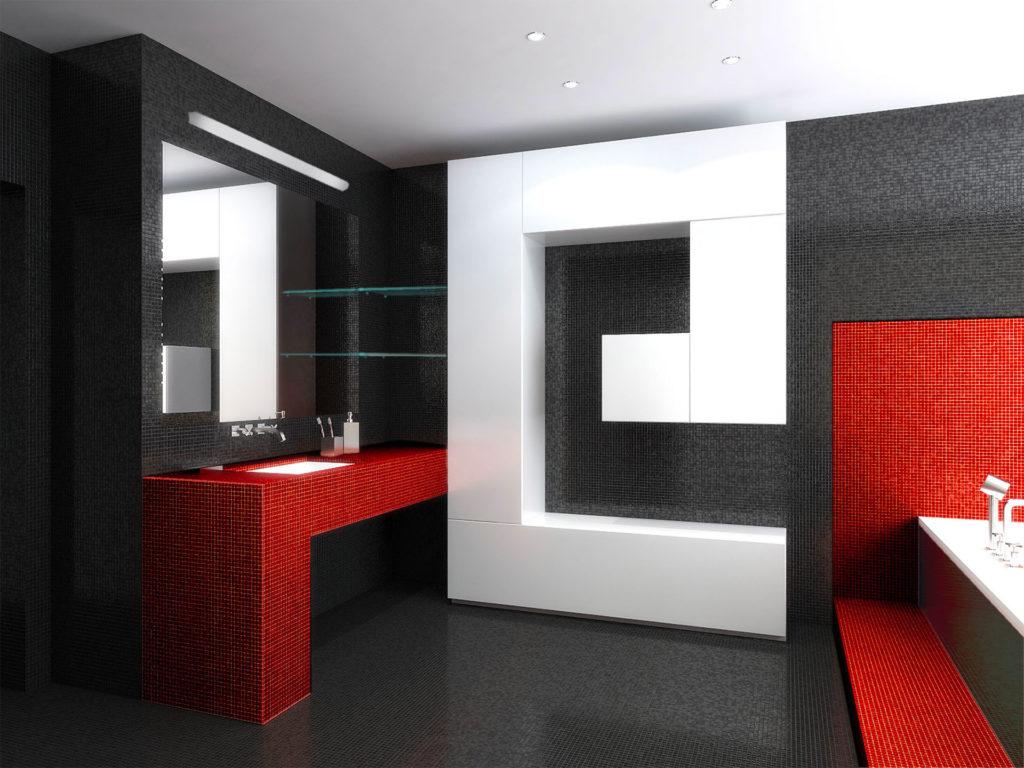 Ванная комната в красно-черно-белом цвете